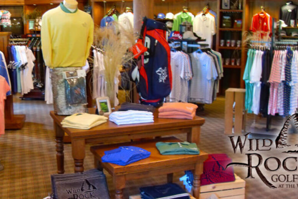wild rock golf club at the wilderness. the golf shop with golf polos and outerwear