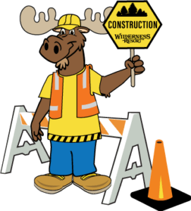 Monty Moose Mascot Holding Construction Sign